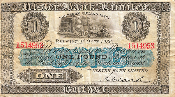 Northern Ireland 1936, Ulster Bank, 1 Pound, P-312