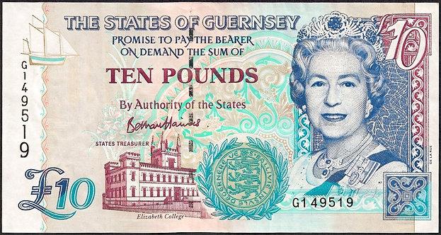 Guernsey ND (1995-2015), 10 pounds, *G*, P-57d