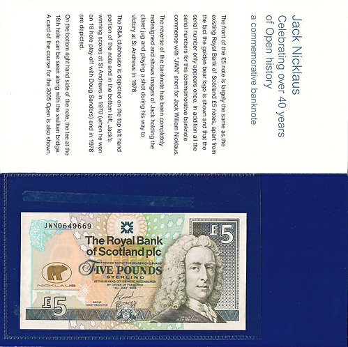 Scotland 2005, RBS, 5 pounds, Jack Nicklaus, *JWN*, P-365