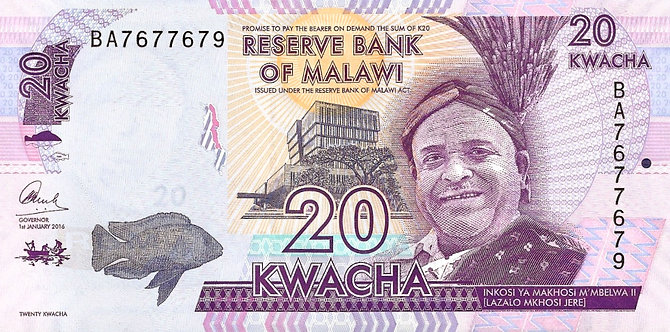 Malawai 2016, Reserve Bank of Malawi, 20 Kwacha, *BA*, P-63c