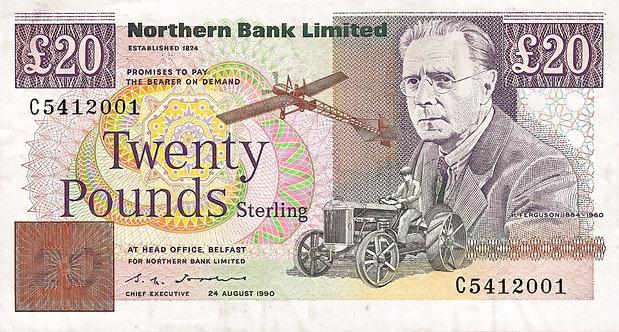 Ireland, Northern Bank, 20 pounds, 1990, Prefix *C* , P-195