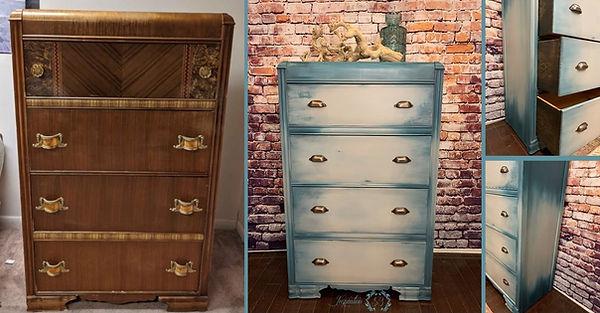 Blue-Gray Waterfall Dresser-Before-After