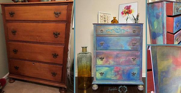 Handpainted Antique Watercolor Dresser