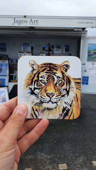 Orange Tiger hard backed coaster Jagos Art