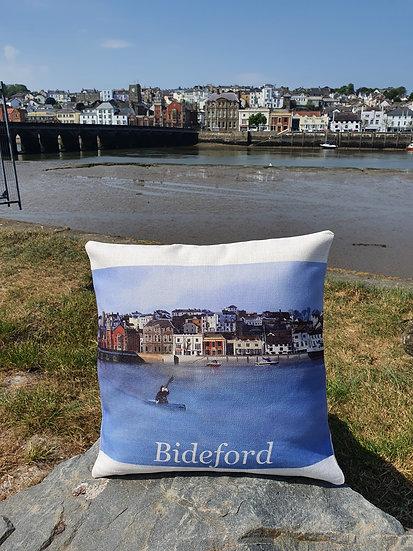 Bideford Town North Devon Linen Effect Cushion Jagos Art