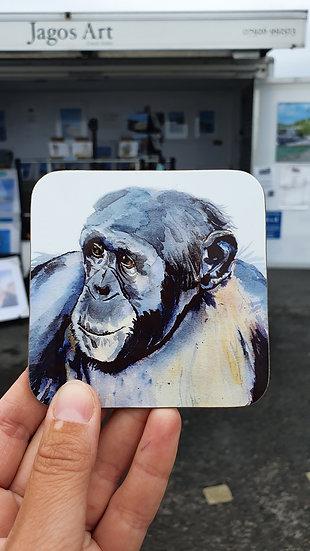 Chimpanzee hard backed coaster Jagos Art