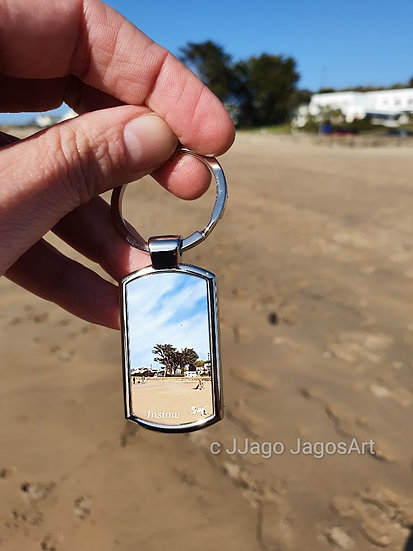 Instow Village North Devon oblong metal keyring Jagos Art