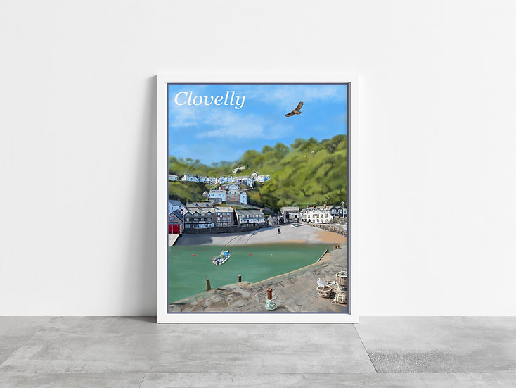 Clovelly Harbour and Village Art Print