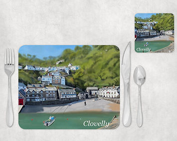 Clovelly Harbour Fishing Village in North Devon Table Placemat and Coaster