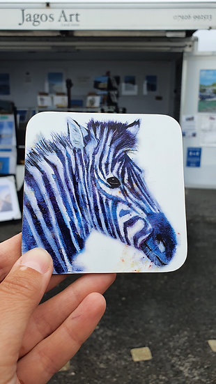 Zebra with Purple Stripes coaster Jagos Art