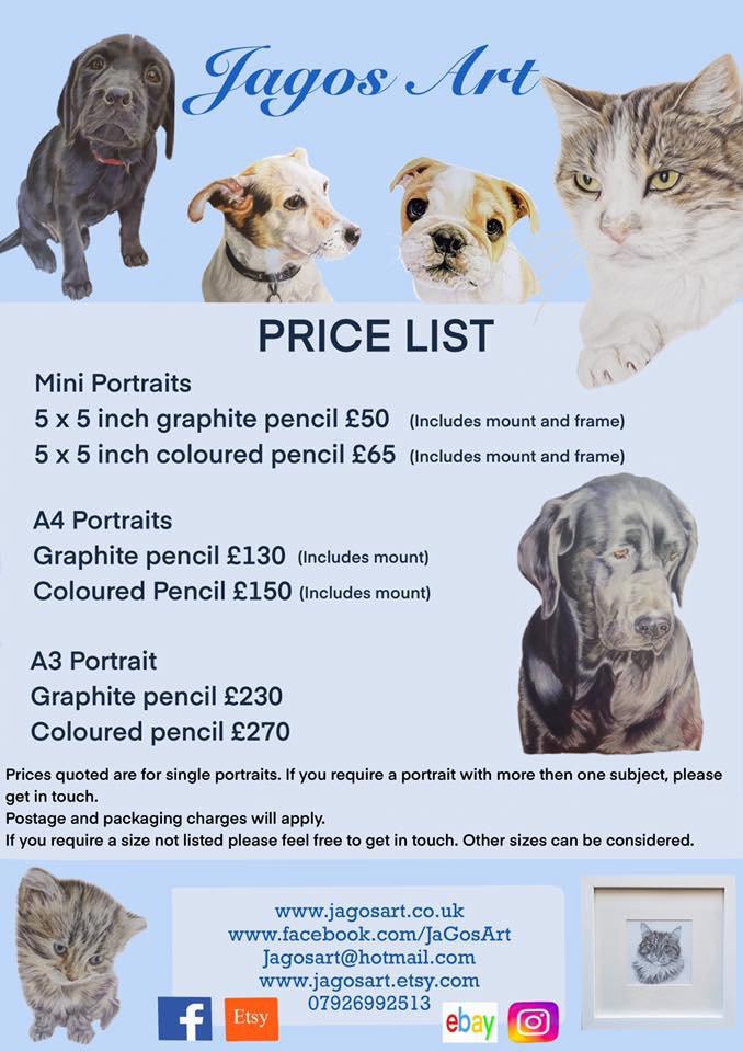 pet portrait price list for Justine Jago Jagos Art