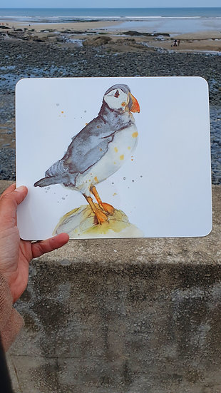 Puffin standing on a rock hard backed table coaster Jagos Art