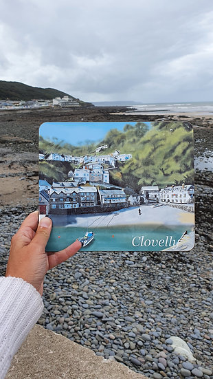 Clovelly Harbour Fishing Village in North Devon Table Placemat Jagos Art