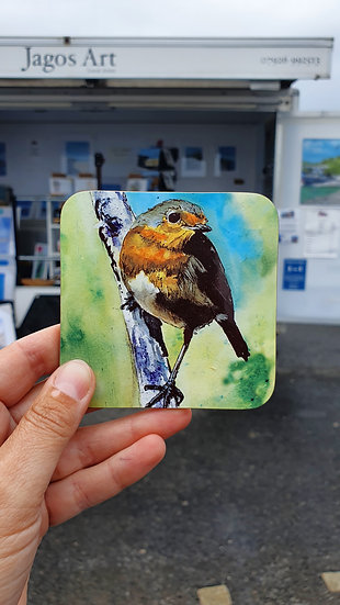 Robin Red Breast perched on a branch coaster Jagos Art