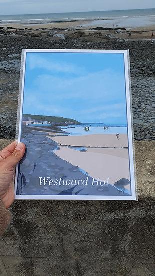 Westward Ho! North Devon Art Print - Jagos Art
