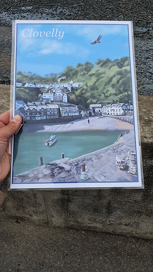 Clovellly Harbour and Fishing Village in North Devon A4 Art Print Jagos Art