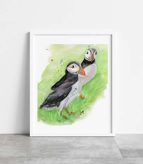Pair of Puffins standing in the green grass A4 Art Print