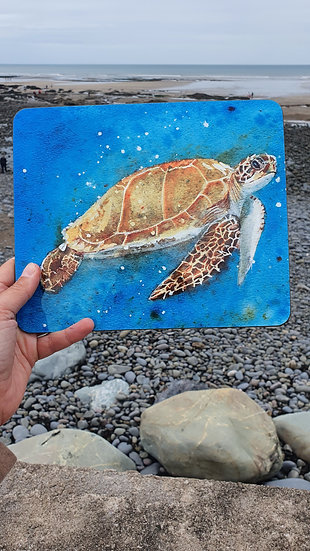 Sea Turtle swimming in vibrant blue sea placemat Jagos Art