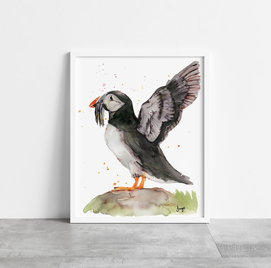 Puffin with outstretched wings A4 Art Print