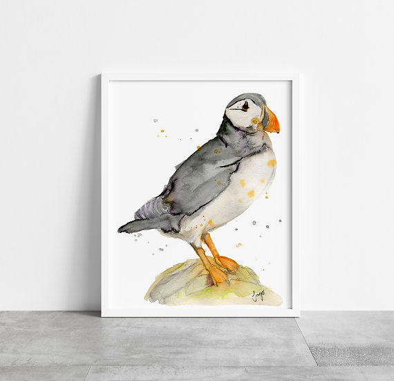 Puffin on a Rock A4 Art Print
