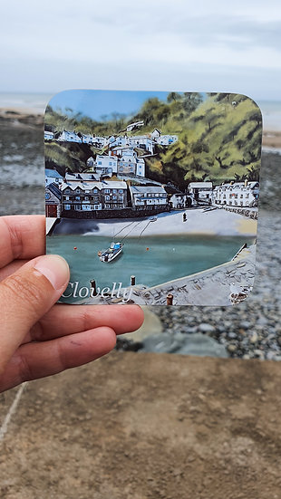 Clovelly Harbour and Village North Devon Hard Backed Table Coaster Jagos Art