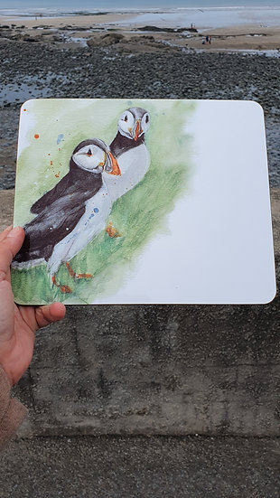 Pair of Puffins standing in the grass Placemat Jagos Art