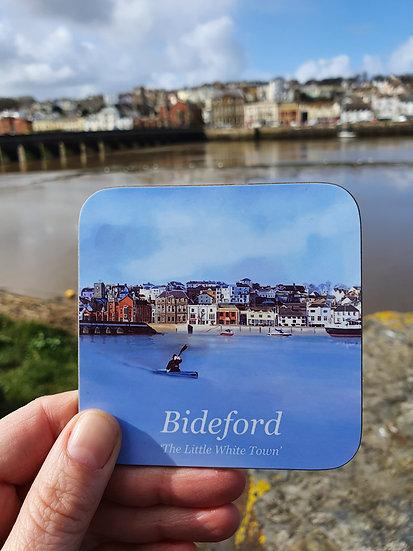 Bideford Town North Devon Hard Backed Coaster - Jagos Art