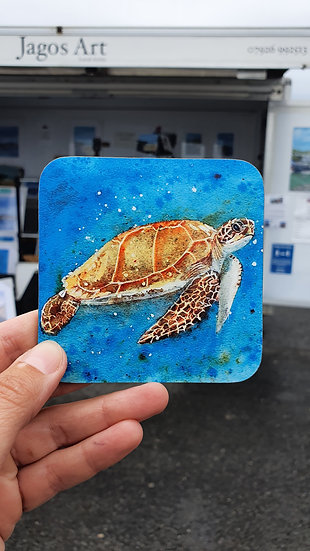 Sea Turtle swimming in vibrant blue sea coaster Jagos Art