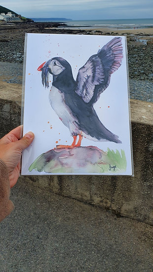 Puffin with outstretched wings standing on a rock A4 Art Print - Jagos Art