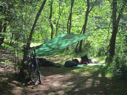 tarp and bicycle camping wesertal