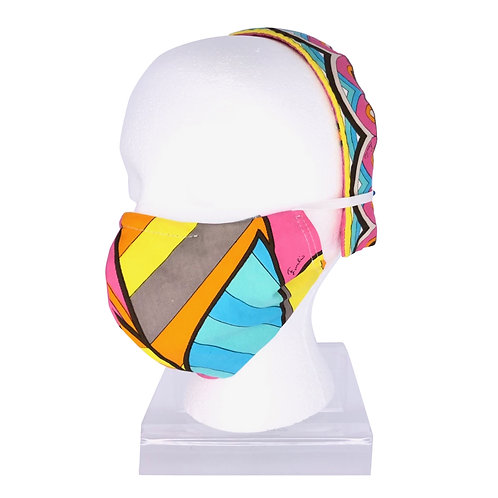 Ninja Style Face Mask Pucci and Headband (Pink / Turquoise)