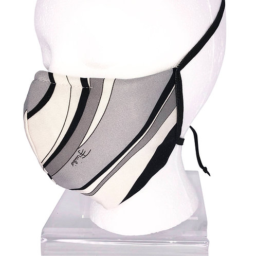 Ninja Style Face Mask Pucci Vintage Material  (Grey / White)