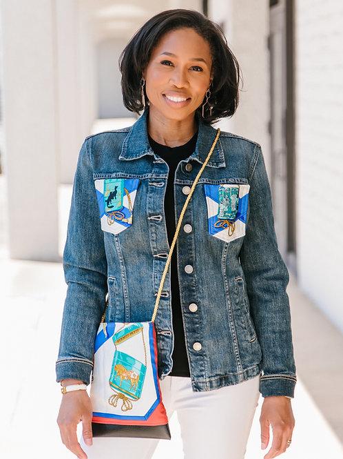 Japanese Daydream Denim jacket reborn with Hermes Vintage Rare Silk Cre