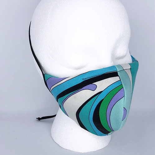 Ninja Style Face Mask Pucci Vintage Cotton Scarf (Turquoise / White)