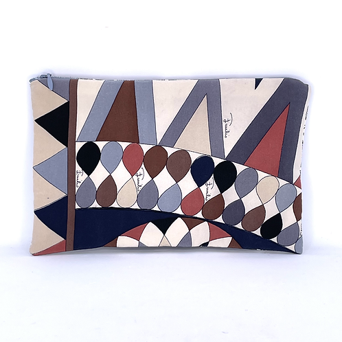 Convertible waist/cosmetic pouch of vintage Pucci earthy silk crepe