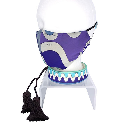 Ninja Style Face Mask and Choker Pucci Print (Purple / Grey)