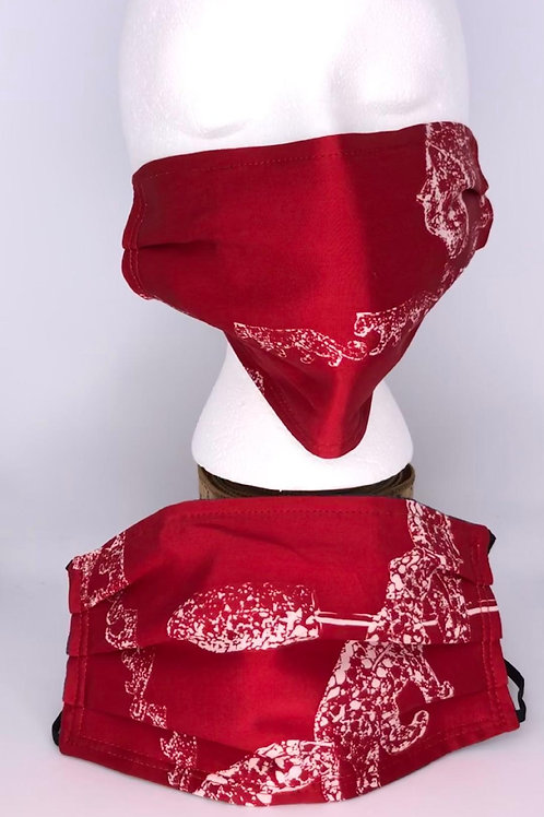 Pleated Style Face Mask Cartier Panthere Red & White Silk