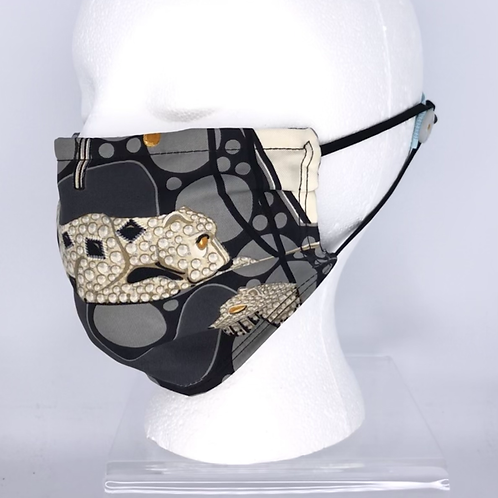 Pleated Style Face Mask Cartier Panthere Tuxedo Silk