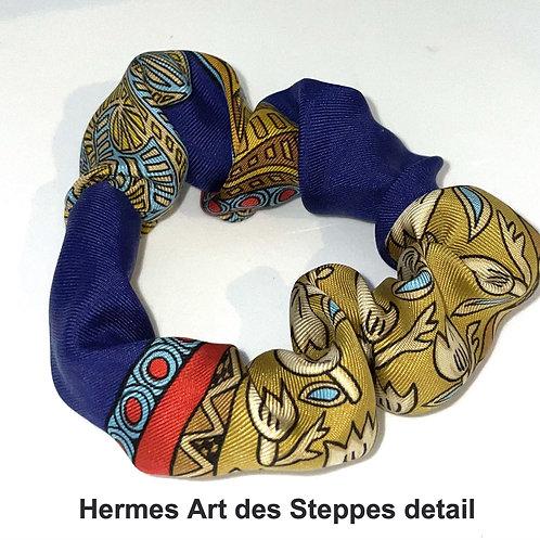Scrunchie from vintage Hermes Art des Steppes silk scarf