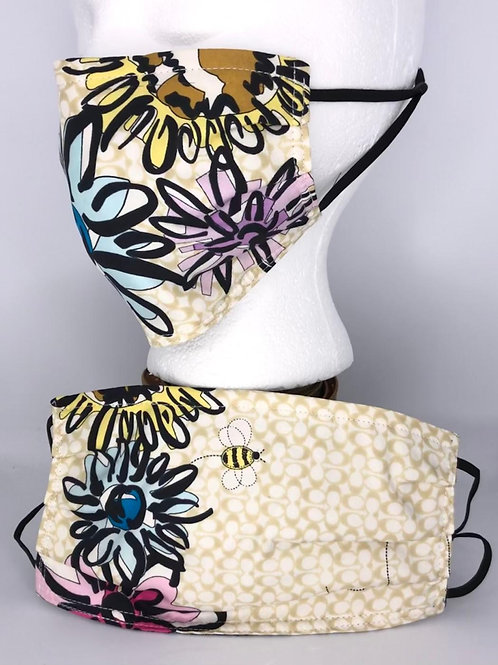 Pleated Style Face Mask Coach monogram flowers silk
