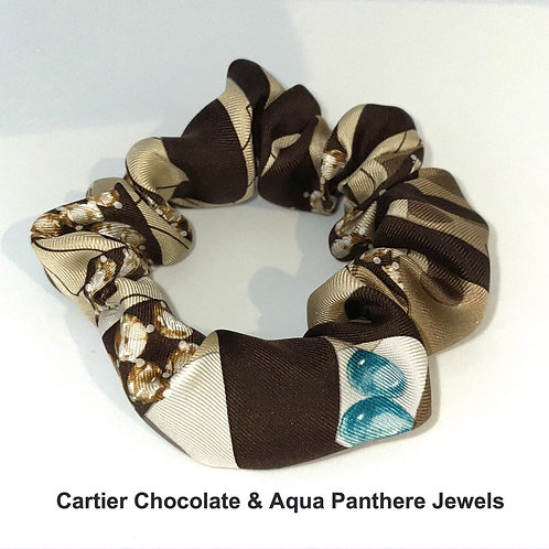 Scrunchie from vintage Cartier Chocolate & Aqua Jewels Panthere silk scarf