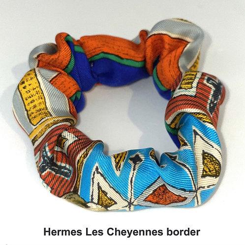 Scrunchie from vintage Hermes Les Cheyennes silk scarf