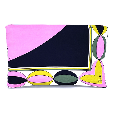 Convertible waist/cosmetic pouch of vintage Pucci Pink & Green silk