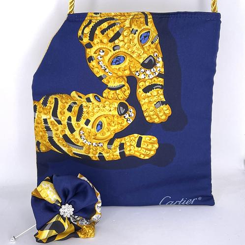 RoKi Crossbody of Vintage Cartier Big Cats Midnight silk scarf