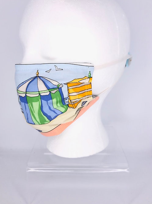Pleated Style Face Mask Hermes Cotton Charmes Des Plages Normandes Scarf