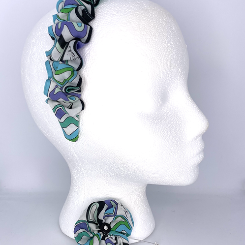 Headband of Upcycled Pucci Aquatic Hearts cotton