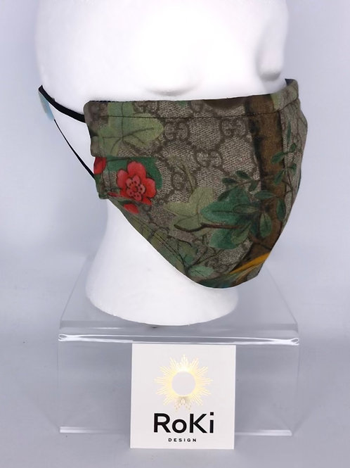 Pleated Style Face Mask Gucci GG floral Scarf (brown / green)