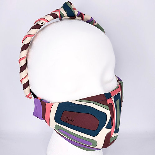 Ninja Style Face Mask Pucci Vintage Knit and Headband (Purple / Pink)