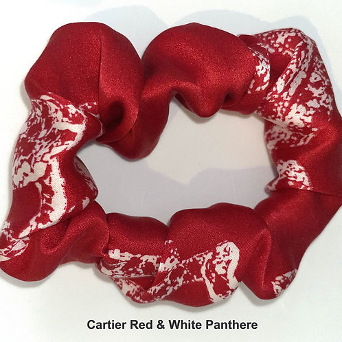 Scrunchie from vintage Cartier Red & White Panthere silk scarf