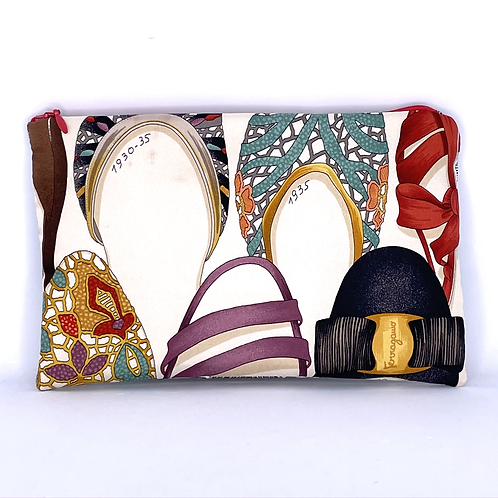 Convertible waist/cosmetic pouch of vintage Ferragamo Shoes silk